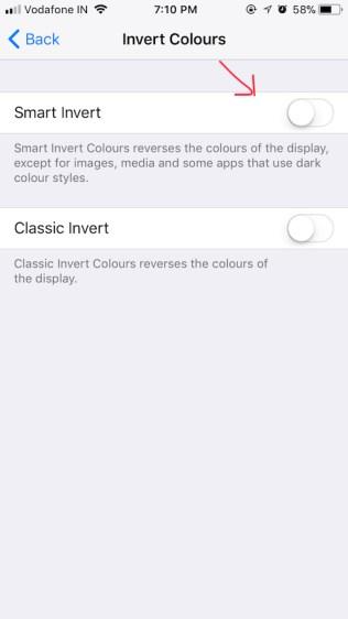 ios 11 dark mode invert colors