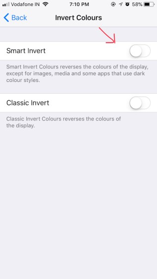 ios 11 dark mode invert colors