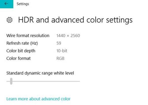 Windows 10 membangun 17040 mode HDR