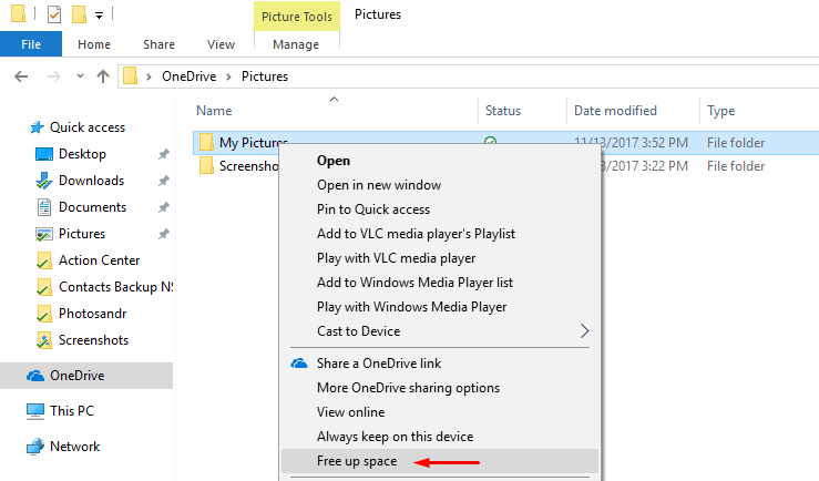 onedrive files on-demand free up space