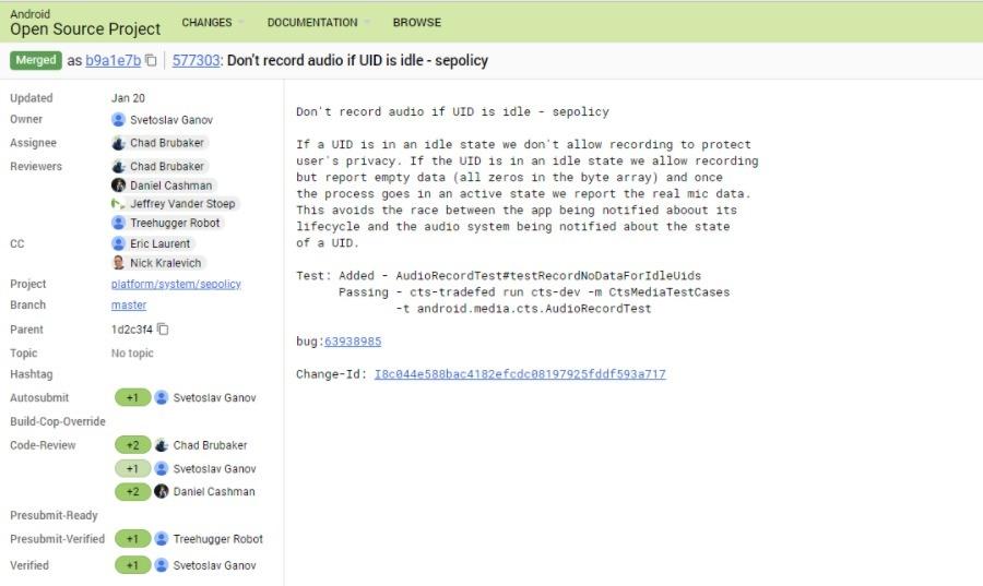 Android P Mencegah Akses Mic AOSP komit