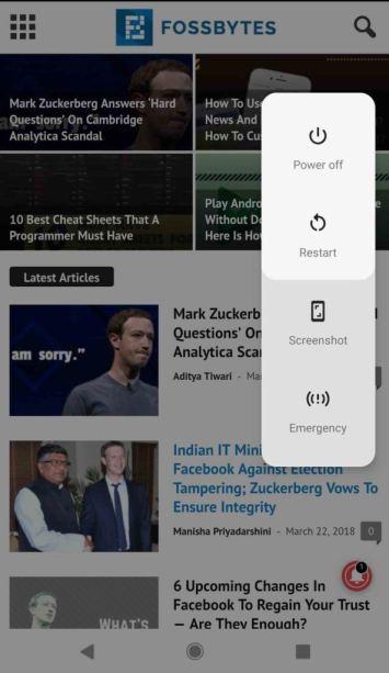 Tombol Screenshot Android P