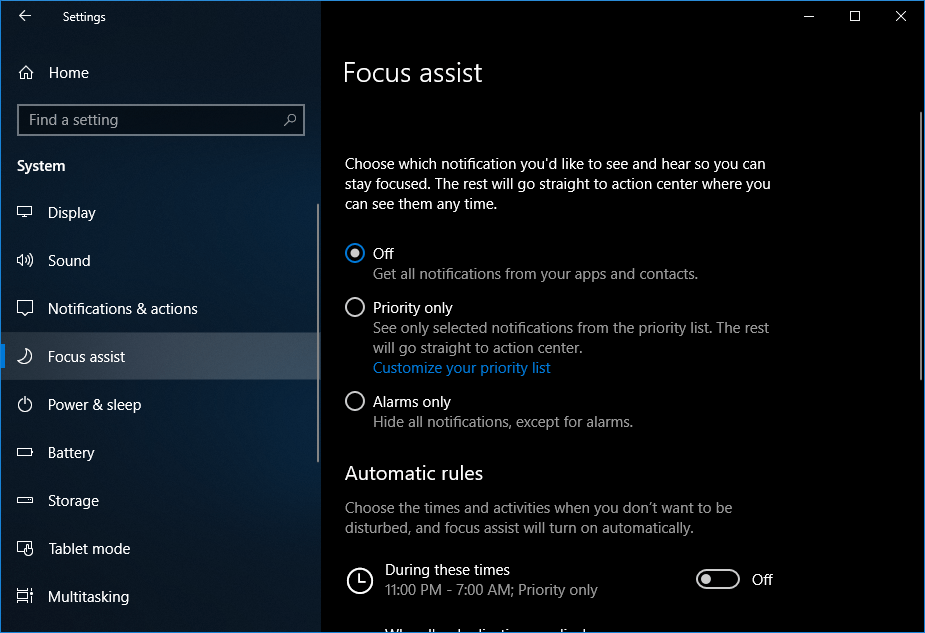 The new Focus Assist settings page. Image credit: Fossbytes