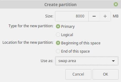 Linux Mint 19 Tara Swap Partition