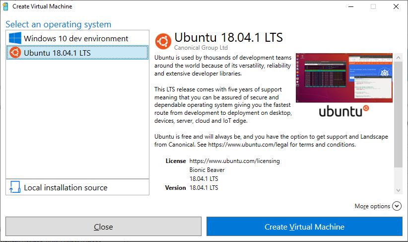 windows 10 ubuntu vm