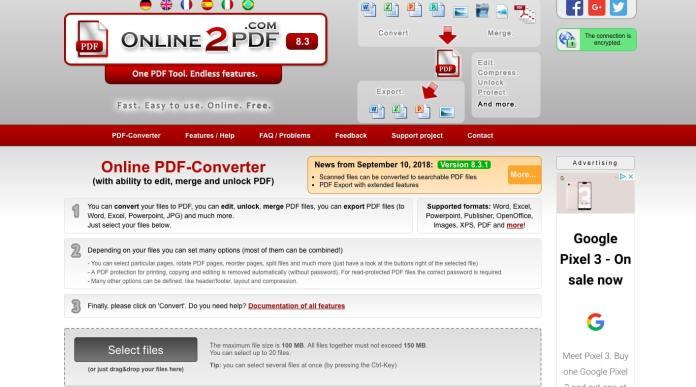 Konverter online2pdf
