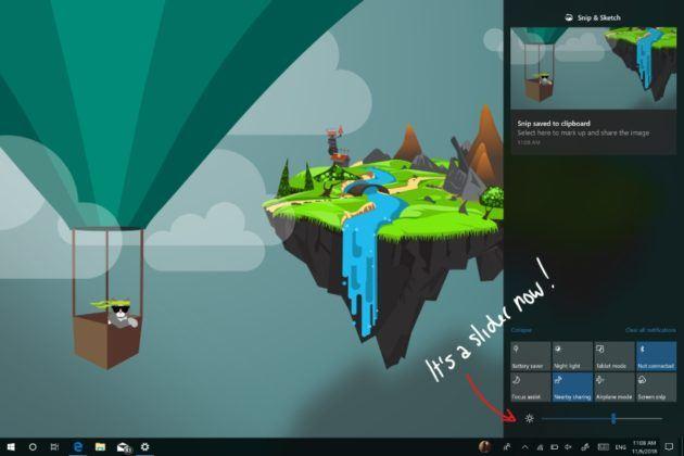 Slider Kecerahan Pusat Aksi Windows 19H1