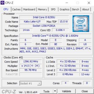 Logiciel d'information PC CPUz