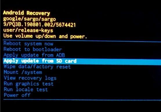 Terapkan Pembaruan Dari SD Card Android Recovery
