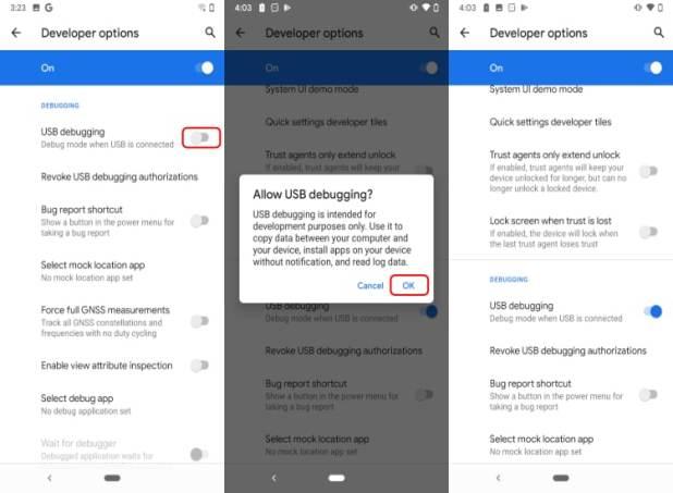 activer les options du développeur Android
