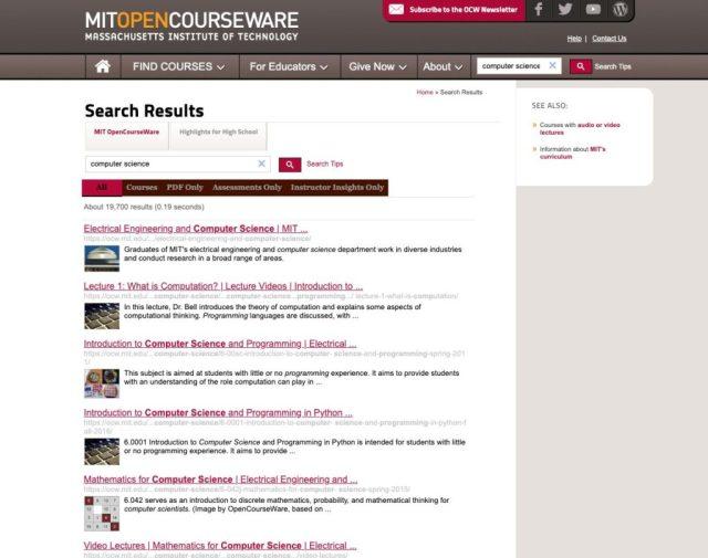 MIT opencourseware_Melhores sites de codificação gratuitos