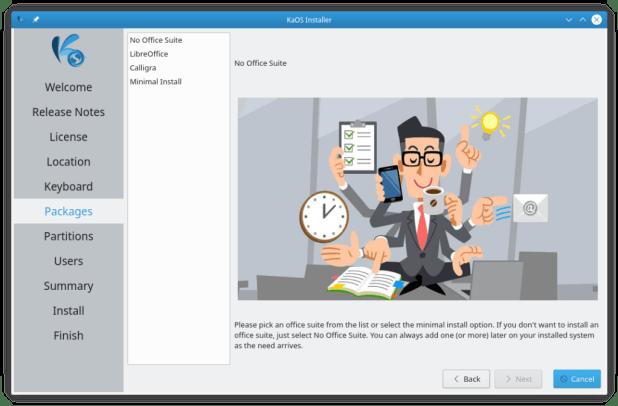 Nouvelle fonctionnalité KaOS: choisissez d'installer ou non OfficeSuite