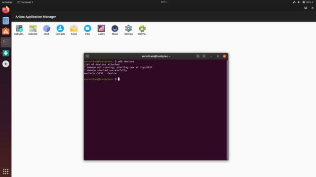 Anbox - comando adb devices em execução