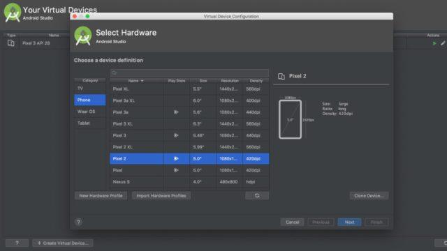 Android Studio - criando dispositivos virtuais