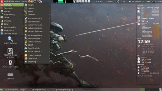 Tsurugi Linux Toutes les catégories d'outils