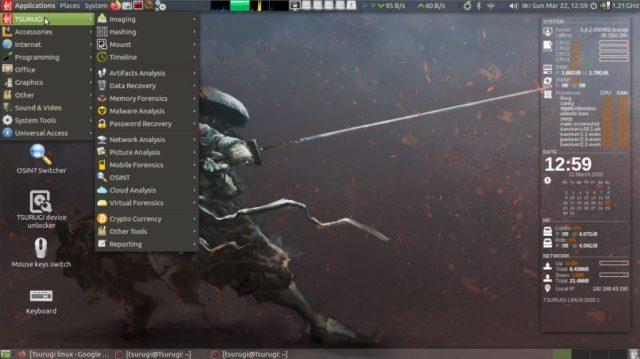 Tsurugi Linux Todas as categorias de ferramentas