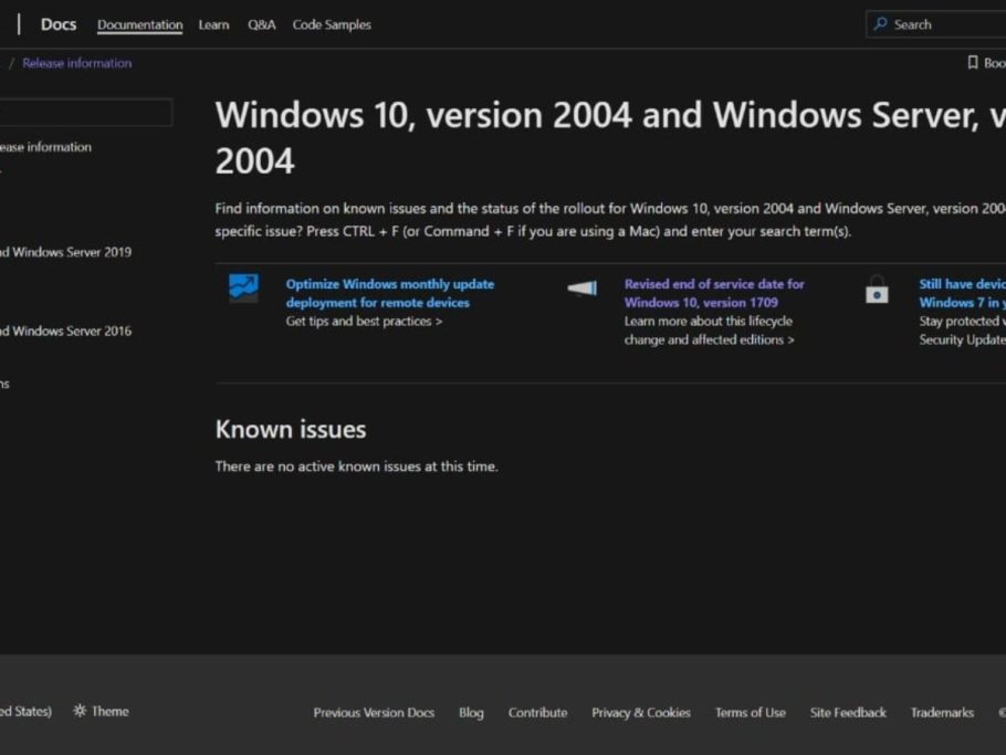 Microsoft Creates 2 New Support Pages For Windows 10 2004