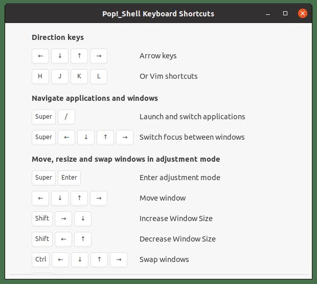 Информация о сочетаниях клавиш Pop Shell