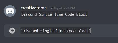 Single line Discord Code Blocks