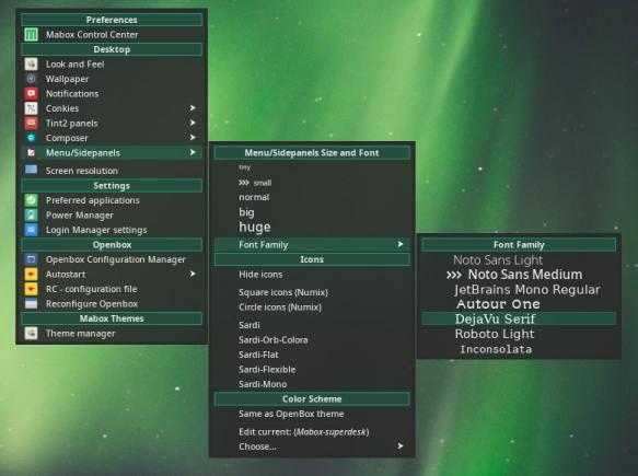 Configurações de menu / painel lateral