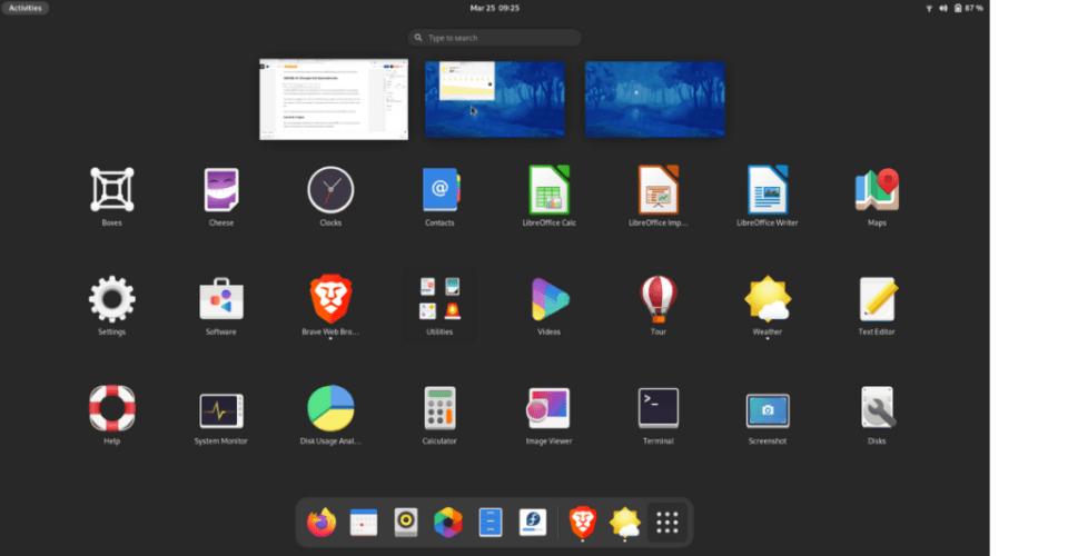 menu aplikasi gnome 40