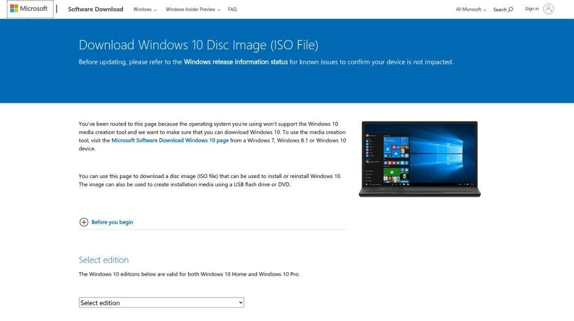 страница загрузки Windows 10