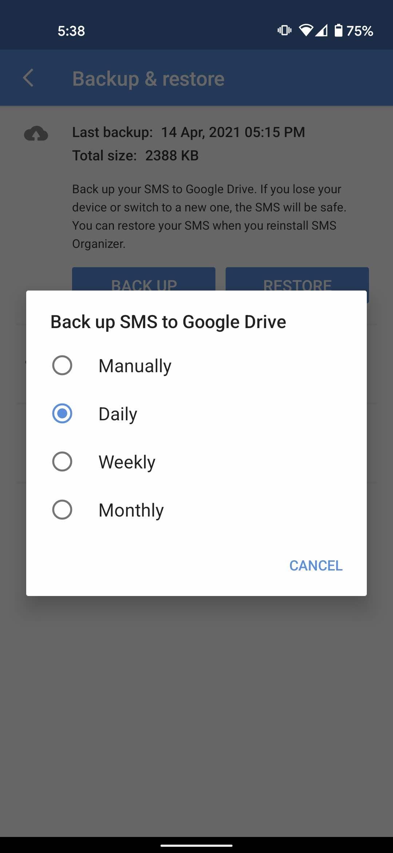 SMS organizer daily backup
