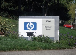 HP Welcome Sign outside corporate headquarters.