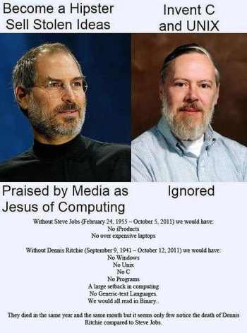Steve Jobs & Dennis Ritchie social media meme