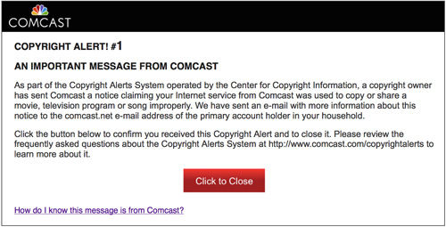 Comcast copyright alert