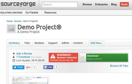 SourceForge warning badge