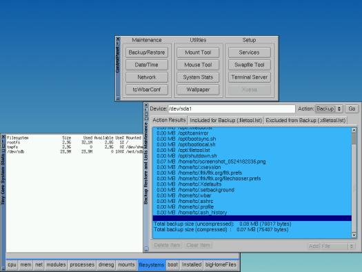 Tiny Core Linux 7.1 backups