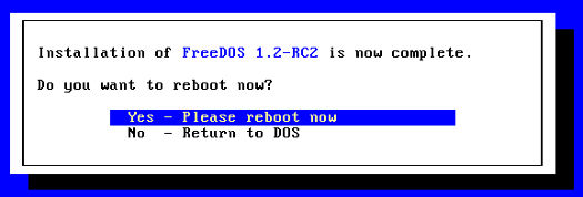 Installing FreeDOS