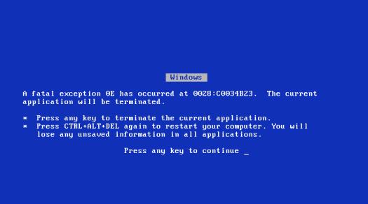 microsoft windows blue screen of death bsod