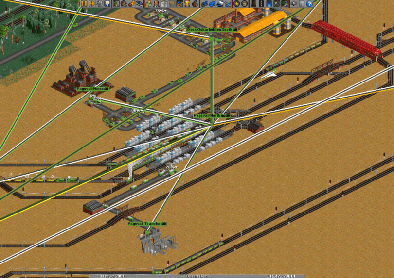 OpenTTD - another transportation business simulation game, clone of Transport Tycoon Duluxe