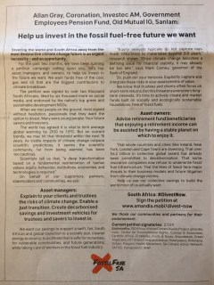 Our 2018 ad in Business Day calling on asset managers to offer fossil fuel-free funds.