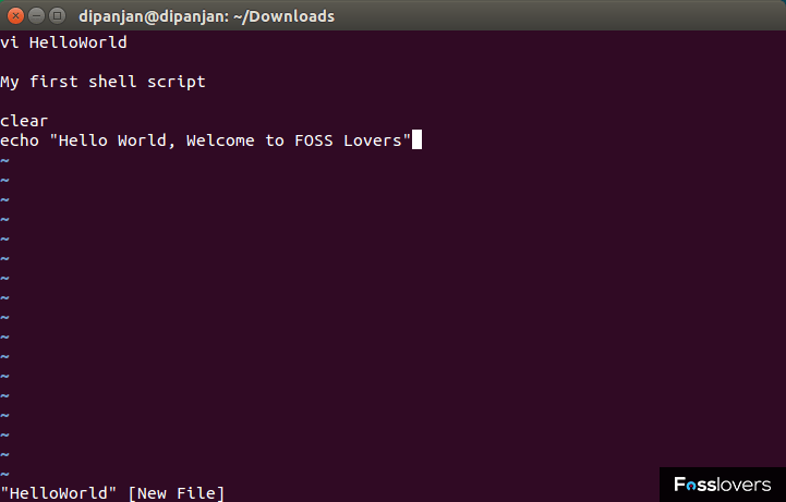 first shell script fosslovers