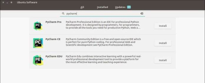 PyCharm is available in Ubuntu Software Center