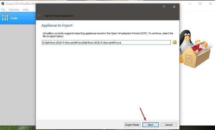 virtualbox import file