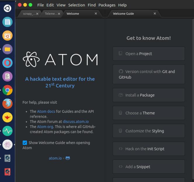 atom welcome page fossnaija