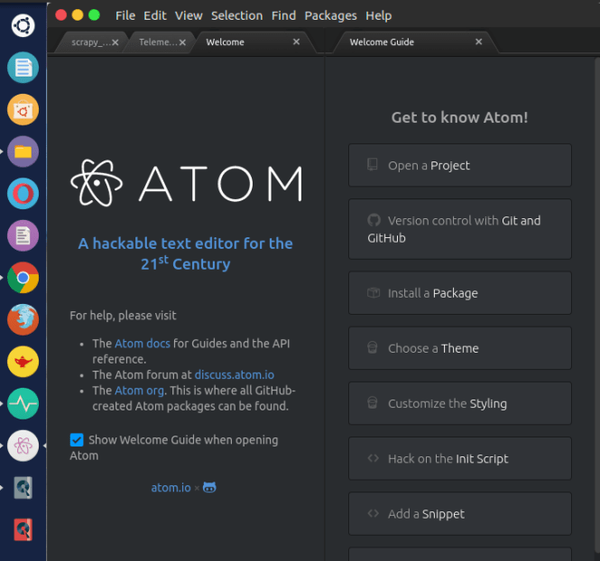 atom welcome page fossnaija