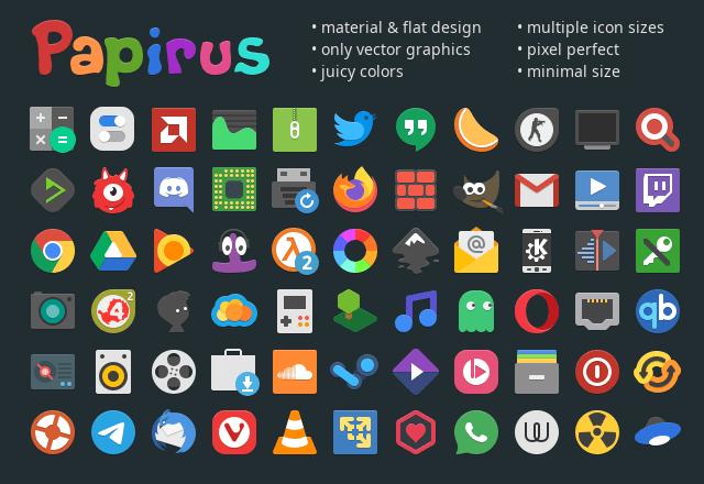 Papirus icon theme preview