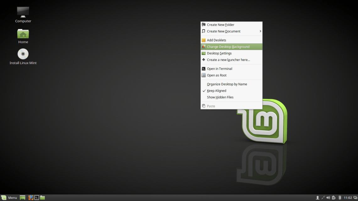 Linux Mint 18 Desktop Context Menu
