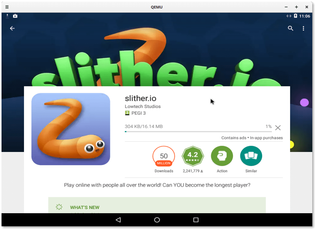 Downloading Slither.io game from the Play Store