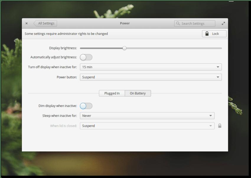 Elementary OS 0.4 Loki Power Settings