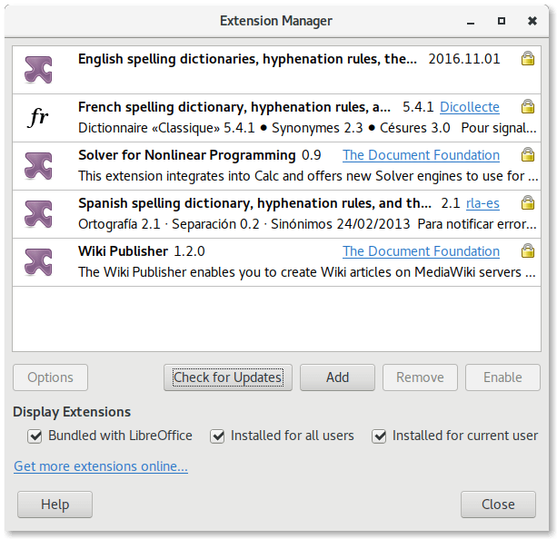 LibreOffice 5.3 extension manager