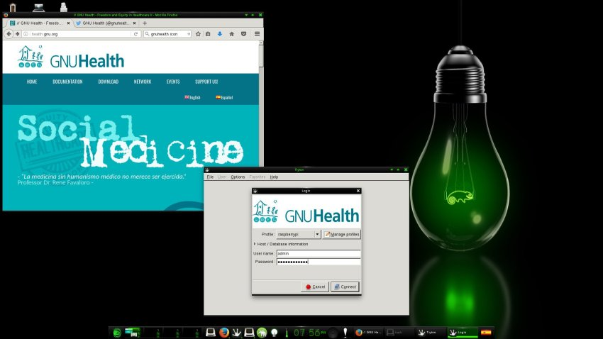 GNU Health running on openSUSE, running on Raspberry Pi, image via: https://twitter.com/gnuhealth/status/839824765086916609/