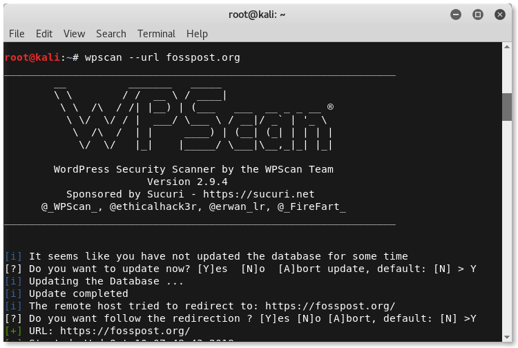 Running wpscan on fosspost.org using Kali Linux