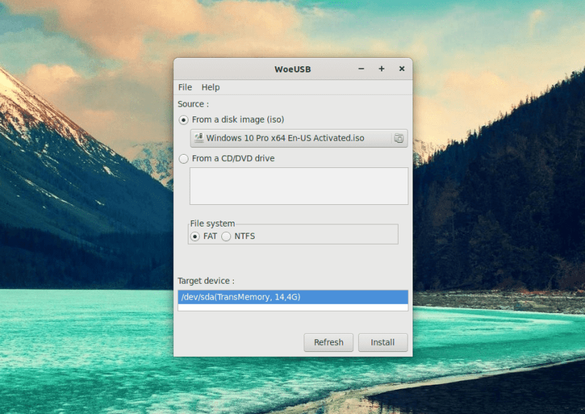 Burn Windows on USB from Linux via WoeUSB 11