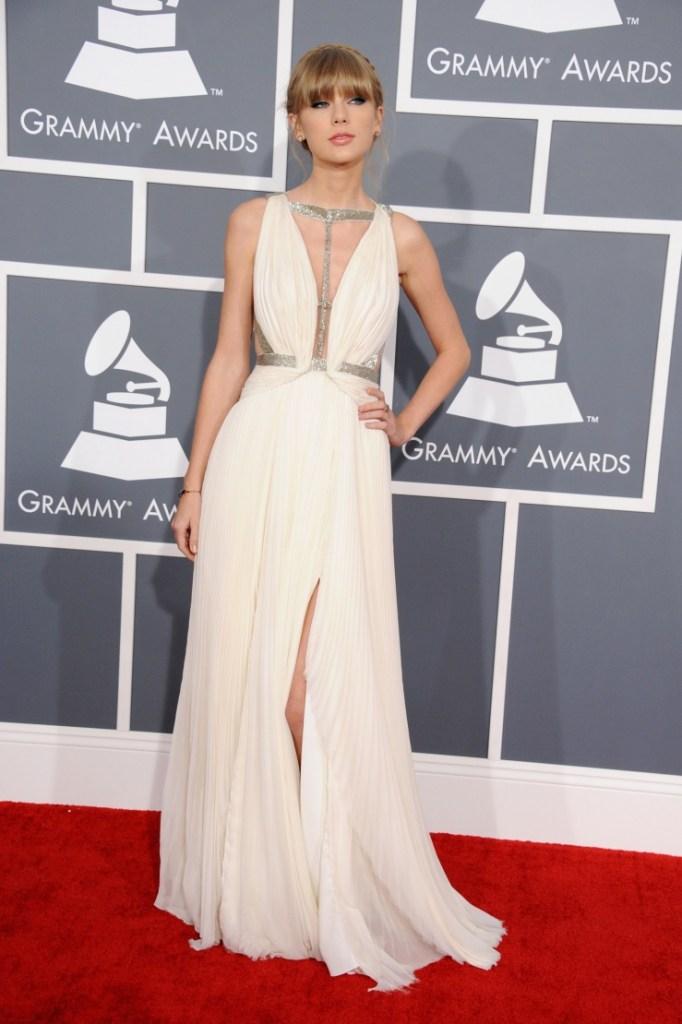Taylor Swift in J. Mendel. Photo via www.grammy.com
